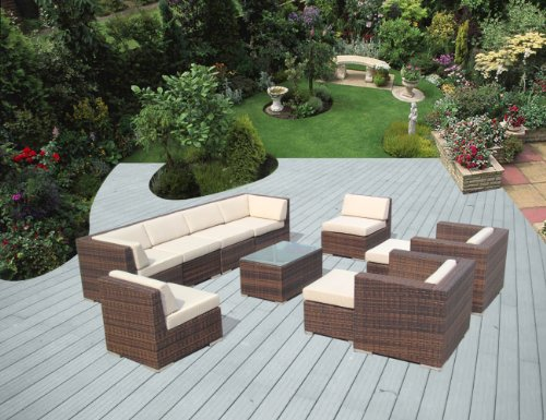 Genuine Ohana Outdoor Patio Wicker Sofa Mixed Brown Furniture 11pc Set with Free Patio Cover photo