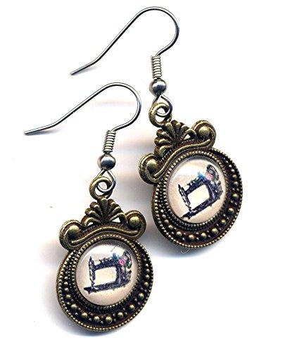 Sewing Machine Earrings, Victorian Style Earrings, Surgical Steel Earrings, Singer Sewing Machine Earrings, Seamstress Earrings, Vintage Sewing machine Surgical Steel Earrings by AnnaArt72 (Anna Sewing compare prices)