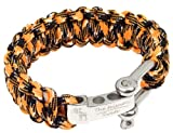The Friendly Swede (TM) Premium Paracord Survival Bracelet With Stainless Steel D Shackle - Adjustable Size Fits 7-8 Inch Wrists - Retail Packaging - Lifetime Warranty (Orange Camo)