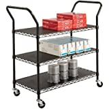 Safco Products 3-Shelf Wire Utility Cart, Black