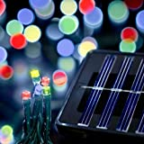 Saffron Solar Holiday Lights, Indoor/outdoor (Red/Green/Blue, 100 LEDs)