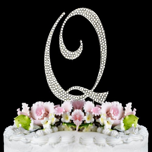 Completely Covered Swarovski Crystal Silver Wedding Cake Toppers ~ Large Monogram Letter Q back-992418