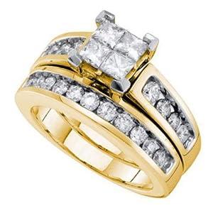 Pricegems 14K Yellow Gold Ladies Princess Diamond Invisible Set Bridal Ring Size: 8.5)