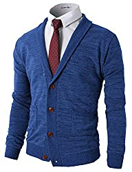 H2H Mens Basic Shawl Collar Knitted Cardigan Sweaters with Ribbing Edge BLUE US S/Asia M (CMOCAL07)