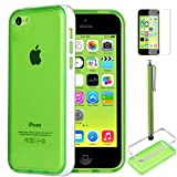 iPhone 5C Case Cover, ULAK Ultra Slim Clear Back Case for iPhone 5c With Frame Bumper Screen Protector and Stylus Pen (Green w/ White Bumper)