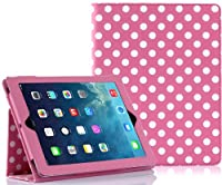 SUPCASE Apple iPad Air (iPad 5 5th Generation) Slim Fit Folio Leather Case (Spotty Pink) - Support Auto Wake/Sleep, Elastic Hand Strap, Not Compatible with iPad 1/2/3/iPad Mini by SUPCASE