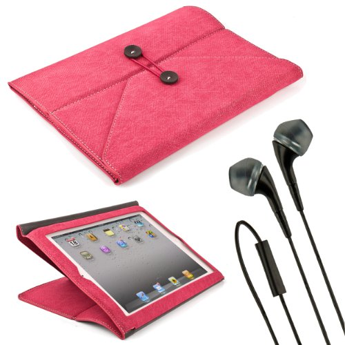Pink Denim Jeans Envelope Case W/ Fold To Stand Function For Apple Ipad 9.7 Inch Retina Display Tablet (Compatible With All Generations) + Black Vg Handsfree Stereo Headphones W/ Windscreen Microphone + Sumaclife Tm Wisdom Courage Wristband