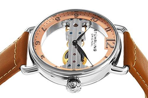 STUHRLING ORIGINAL Brücke Herren Automatik Uhr mit Rose Gold Zifferblatt Analog-Anzeige und braunem Lederband 976.02 3