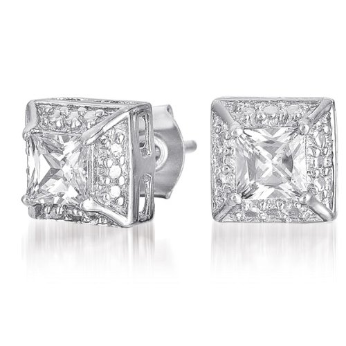 C.Z. Square Vintage (.925) Sterlinf Silver Stud Earring (Nice Holiday Gift, Special Black Firday Sale)