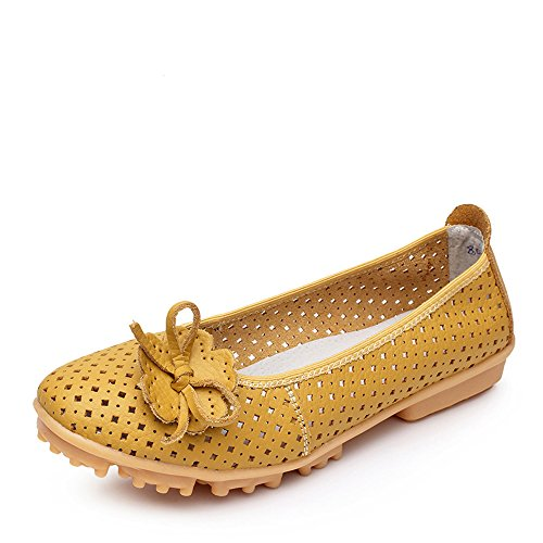 Oyangs Casual Fashion Women's Leather Oxfords Flats Slip-On Loafer E114
