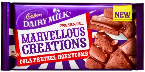 2 x Cadbury Dairy Milk Marvellous Creations COLA PRETZEL HONEYCOMB 200g Candy Bars