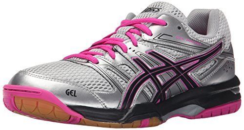 ASICS Women's Gel Rocket 7 Indoor Court Shoe, Silver/Black/Pink Glow, 8.5 M US