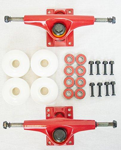 SCSK8 Red Skateboard trucks white wheels bearing hardware set kit (com-9117)