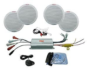 Pyle PLMRKT4A 4-Channel Waterproof MP3/iPod Amplified 6.5-Inch Marine Speaker System from Sound Around
