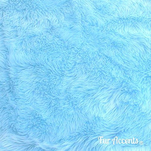 Plush Faux Fur - Cut Yardage - Light Sky Blue - Shaggy Shag by the Yard - Acrylic and Polyester Fur Accents Fur and Fabric Brand (12''x60'') (Light Blue Faux Fur compare prices)