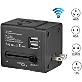 eBoot Smart Travel Router + Universal AC Adapter Travel Charger with 2.5A USB Charging Ports (US UK EU AU) - Black