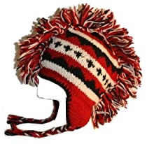 #934 Hand Knitted 100% Wool Mohawk Hat One Size[934 - Red/White]