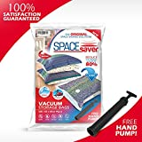 5 x Premium *JUMBO* Space Saver Bags* [Works With Any Vacuum Cleaner + FREE Hand-Pump for Travel!] Double-Zip Seal and Triple Seal Turbo-Valve for Max Compression! 80% More Storage Than Other Brands!