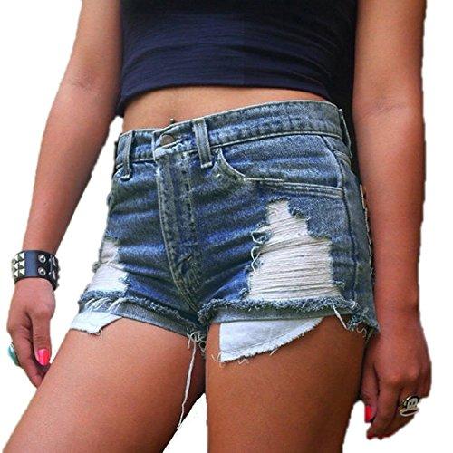 Women's Juniors Distressed Cut Off Ripped Jean Shorts High Waisted Denim Shorts (XL, Denim Blue) Blue Cut Off Short