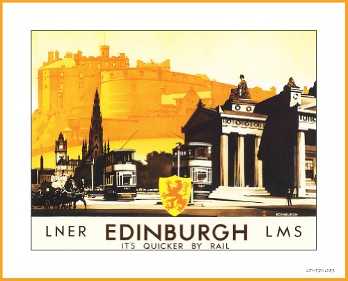 SCOTLAND Vintage Travel EDINBURGH 250gsm Gloss ART CARD A3 Reproduction Poster