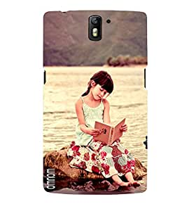 Omnam Cute Girl Sitting And Reading Book Printed Designer Back Cover Case For One Plus One