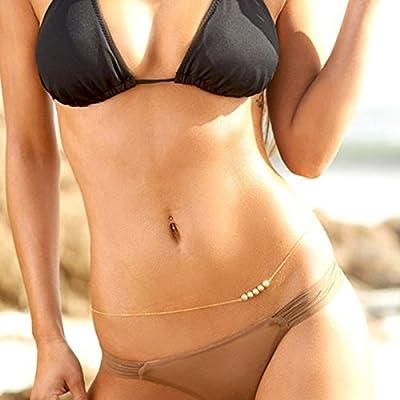 Pixnor Fashion Women's Sexy Bikini Beach Body Belly Chain Tassel Double-Layer Waist Chain (Golden)