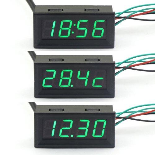 Drok Green Led Digital Gauges Automotive Monitor 12 V Car Colck Panel Voltmet...