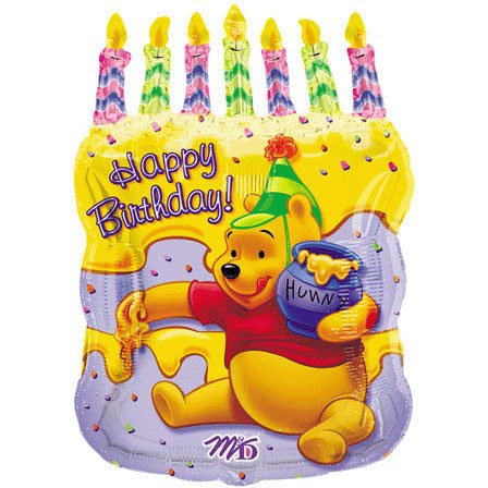 "Pooh Birthday Cake 23"" Mylar Balloon - 1"