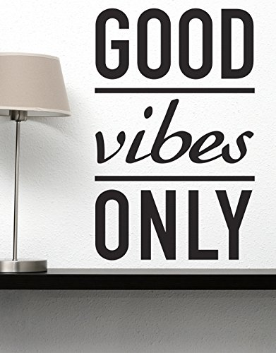 Stickerbrand Inspirational Quote Vinyl Wall Art Good Vibes Only Wall Decal Sticker - Black, 33
