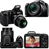 Nikon COOLPIX L340 Digital Camera with 28x Zoom & Full HD Video (Black) + 4 AA Rechargeable Batteries & Charger + 32GB + 59