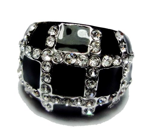 Ring silver plated impressive!! balck crytal & white Cz in Thailand