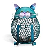 Tooarts Cat Coin Box Piggy Bank Animal Ornament Iron Art Handcrafts (Color: Blue)