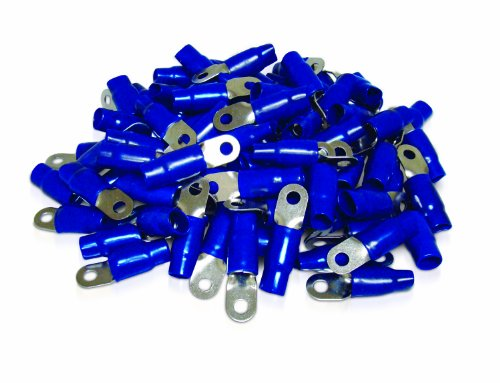 XS Power RT0S-BL-100PK 8.5mm Screw Hole Nickel Finish 0 AWG Crimp Terminal with Blue Boot, (Pack of 100)