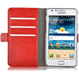 JAMMYLIZARD | Housse portefeuille Deluxe aspect cuir pour Samsung Galaxy S2, Rouge
