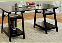 Hot Sale Coaster Trestle Style Office Desk Table, Black Wood Finish