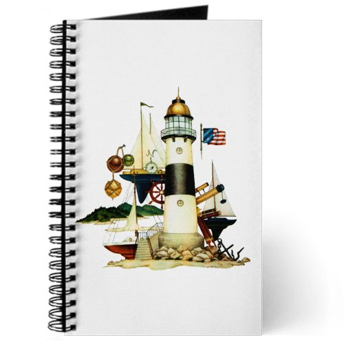 Journal (Diary) With Nautical Vintage Lighthouse Telescope Steering Wheel Anchor And Ships On Cover
