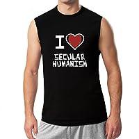 Idakoos - I love Secular Humanism - Religions - Raglan Sleeveless T-Shirt