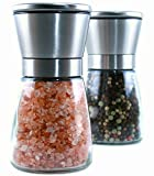 Lux Moderne Salt & Pepper Grinder Set - Elegant Stainless Steel and Glass with Ceramic Coarseness Control Salt Mill and Pepper Mill will surpass your previous Salt grinder and Pepper grinder