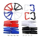 Coolplay® Upgraded 4 colors Syma X5 X5C X5C-1 New Version Spare Parts 16pcs Main Blade Propellers & amp; 16pcs propeller guards Blades Frame & amp; 8 pieces Landing Skid Includes mounting screws RC Mini Quadcopter Toy