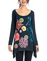 Desigual Didi - T-shirt - Imprimé - Col rond - Manches longues - Femme