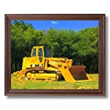 Caterpillar Cat 973 Track Truck Loader Home Decor Wall Picture Cherry Framed Art Print