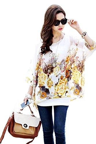 Très Chic Mailanda Donne Tunica Shirt spiaggia delle del Batwing chiffon camicetta Hippie Shirt Top