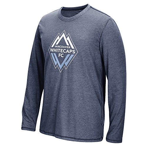 MLS Vancouver Whitecaps Men's Climacool Aeroknit Long Sleeve Tee, Heathered Navy, XX-Large