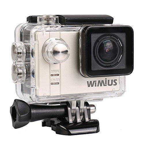 WIMIUS A1 Action Kamera Ambarella A7LS75 Actioncam WIFI Full HD Sport DV Camera mit Fernbedienung 60M wasserdicht Helmkamera 166° Weitwinkel