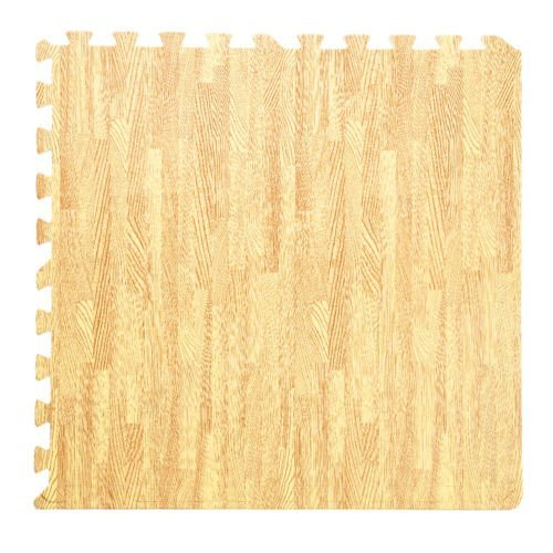 Tangkula 48 Sq Ft EVA Foam Floor Interlocking Mat Show Floor Gym Mat Wood Color