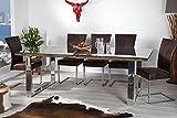 Massiver-Esstisch-BARRACUDA-antik-Teak-Holz-mit-Stahl-Kufenfen-200cm-inkl-Glasplatte-Holztisch-Kchentisch