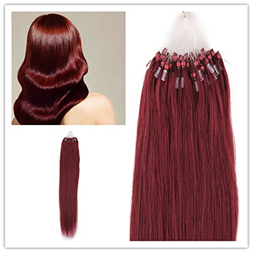"""Beauty7 18"""" 20"""" 22"""" 24"""" Loop Micro Ring Beads Tipped Remy Human Hair Extensions 50g 100s (#99j Red Plum) (18"""")"""