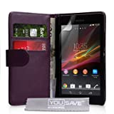 Sony Xperia SP Case Purple PU Leather Wallet Coverby Yousave Accessories