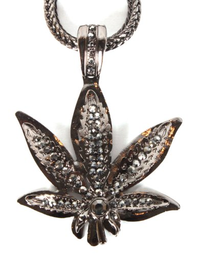 Black Iced Out Marijuana Leaf Pendant with a 36 Inch Franco Chain Necklace