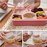 Generic Microwave Bento Lunch Box With Spoon Utensils Picnic Food Container Storage Box Hot - Pink